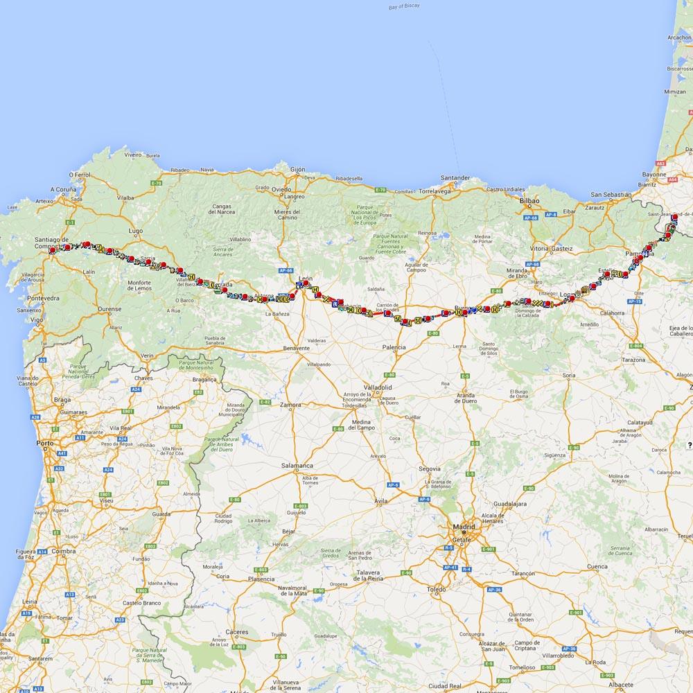 GPS tracks & waypoints for the Camino Francés as per 34 Camino John