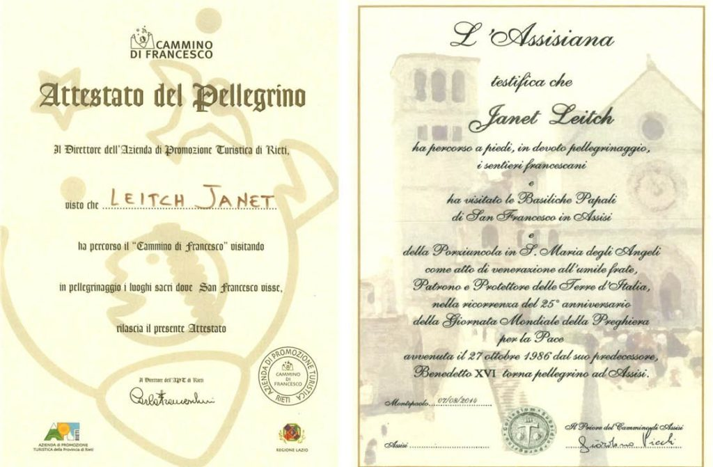 Certificate from the tourist office at Rieti and The Assisiana, issued at Assisi