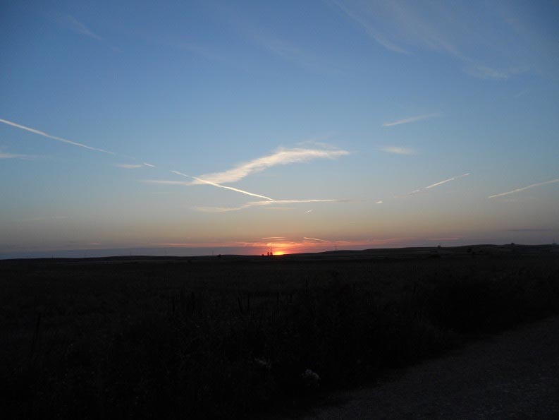 Dawn on the Meseta trail