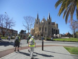Day 1; Walking towards St Mary's Cathedral, Perth