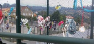 Discarded pilgrim 'mementos' on the outskirts of Santiago
