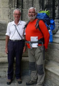 Kevin (left) with Patrick, a Frenchman he walked with for about 5 days, at Bordeaux, at the end of The Plantagenet Way