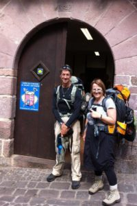 Day 1: Lesley and her brother Peter outside the Pilgrims Office at St-Jean-Pied-de-Port