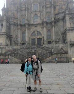Michelle and Michael arrive at Catedral de Santiago de Compostela, 2011