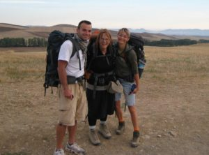 On the road between Santa Domingo and Belorado, with Annett and Rafael from Germany, my greatest supporters
