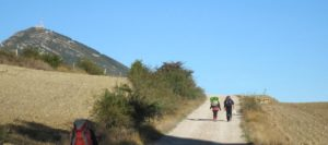 Pilgrims on the Camino Aragonés path, Izco to Monreal