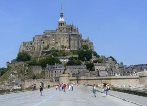The causeway leading to the magnificent Mont St-Michel