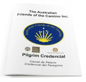 A Pilgrim Credencials cover, issued by the Australian Friends of The Camino